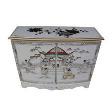 MOTHER OF PEARL ORIENTAL FURNITURE - WHITE LACQUER BLOSSOM 2 DOOR CABINET