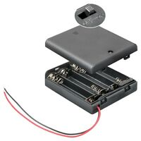 S866 - 2 Stück Batteriehalter 4x Mignon AA Batteriefach geschlossen mit Schalter