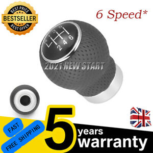 UK Universal Manual Car Gear Shift Knob Shifter 6 Speed  Lever Black PU Leather
