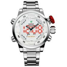 Watch,Mens Watches,Luxury Silver Stainless Steel Band LED Analogue Digital Japan