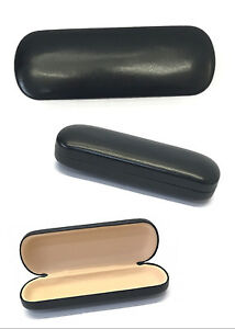 C37 Plain Black Brown Reading Glasses Metal Hard Case Leather Cover Simple Style