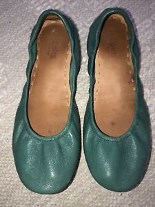 Chartreuse green ballerina shoes by River Island peep toe ballet flats Women real leather size 6.5 US genuine teen girl sandals mustard old