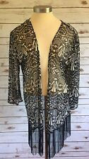 NEW CHEMISTRY Women Sheer Black & Gray 3/4 Sleeve Cardigan Top Size Extra Large