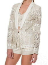 $198 Anthropologie Faux Leather Summer Blazer Small 2 4 Ivory Jacket UNIQUE NWT