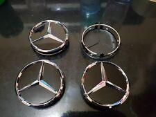 4Logo Emblème Mercedes Jante Cache Moyeu Centre De Roue  AMG Noir BRILLANT 75MM