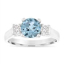 1.45 Carat Aquamarine Engagement Ring, 14K White Gold, Yellow Gold or Rose Gold