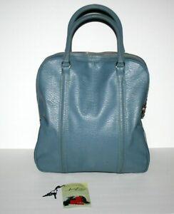 Vintage MCM Amelia Earhart Luggage Carry On Travel Bag Tote Blue w/ Keys, 1960's