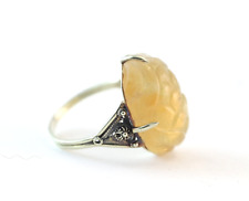Vintage Chinese  Carved Amber Ring 14k Yellow Gold Size 7