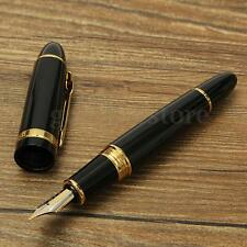 JINHAO 159 Lacquer Broad Fountain Ink Pen Medium Nib Heavy Black Gold Trim Gift