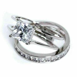 Diamond Wedding Ring Set 14K White Gold Finish Princess Cut 2.00 Ct Size M N P
