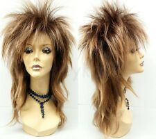 Dark Copper & Brown Punk Rock Wig Long Straight Spiky David Bowie Costume 17""