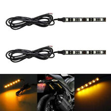 6 LED Motorcycle Turn Signals Flexible Strip Blinkers Slim Flush Tail Light