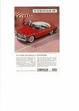 VINTAGE 1955 CHRYSLER WINDSOR DELUXE NASSAU TANGO RED PLATINUM CAR AUTO AD PRINT
