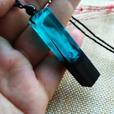 Mahogany Resin Wood Pendant Necklace Rope Chain Women/Men XMAS Gift For Lovers