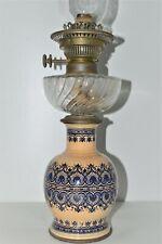 BELLE ANCIENNE LAMPE A PETROLE PIED CERAMIQUE BOL BACCARAT BAMBOU TETE 15 PICOTS
