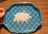 Vintage Blue Metal Tray With Pig.