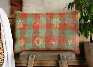 (40*60cm, 16*24inch) Vintage Woven Kilim Pillow Covers mint musk check pink