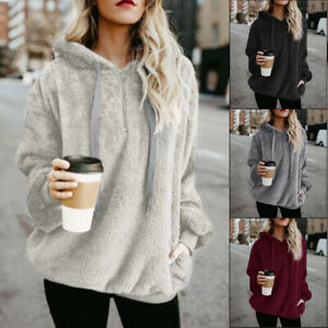 UK Womens Winter Jumper Fluffy Fleece Coat Sweater Hooded Zipper Pullover Tops