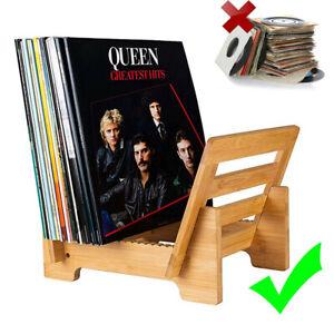 Sturdy Vinyl Record Display Stand Desktop LP Storage Rack Bamboo 50 Album Holder