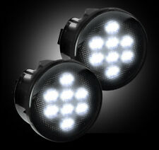 RECON Lighting Front Turn Signal Lenses - White LED Smoke 07-15 Jeep Wrangler JK