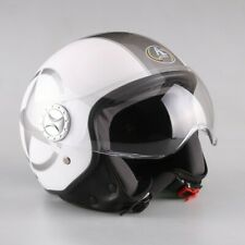 Casco DEMI JET Star Bianco Nero Lucido Scooter Moto Motorino Visiera OMOLOGATO