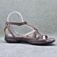 ECCO Brown/Cream/Metallic Gold Leathr Strappy Sandal Women's sz EU 40
