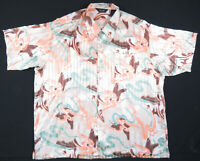 NWOT Genelli 100% Silk Abstract Geometric Multi Color Short Sleeve Mens Shirt 2X