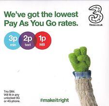Three 3G UK Pay as you go Combi Trio Standard Micro Nano sim card For All Phone