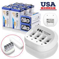 EBL 8x 600mAh 9V Li-ion Rechargeable Batteries + 9 Volt Battery Charger 6F22 USA