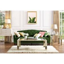 Vintage Tufted Sofa Sleeper Bed Couch Furniture Living Room Lounger Green