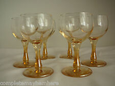 Carnival Glass Wine Glasses Amber Gold Marigold 12cms tall Set of 6 parties
