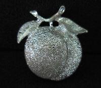 Vintage Sarah Coventry Silver Tone Peach Brooch Pin