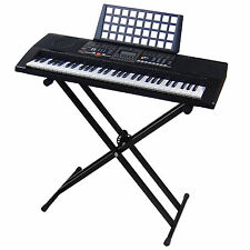 61 Keys LCD Teaching Keyboard MK906 USB MIDI with Stand Support, Touch Response