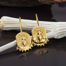 925 Sterling Silver Bee Coin Handmade Hook Earrings Ancient Jewelry By Omer