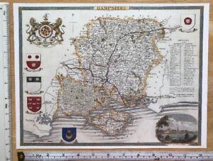 Old Antique Victorian map Hampshire, England 1830's: Moule: Reprint: Southampton