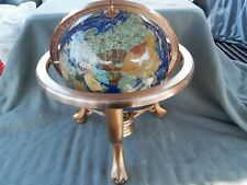 Blue Lapis Gemstone Globe On Copper Stand With Compass