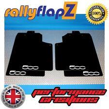 Mud Flaps to fit FIAT 500 (2007 on) Mudflaps rallyflapZ Black 3mm PVC Logo White