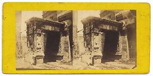 Rome Arco San Giorgio in Velabro Rare Stereo card Albumen photo 1860c S1062