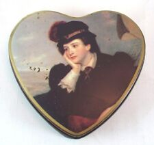 Love Heart Shape Tin Victorian Style Lady Image Storage Box Collectables