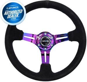 "NEW NRG Steering Wheel 350mm  Black Suede Neochrome Spoke 3"" Deep RST-018S-MCBS"