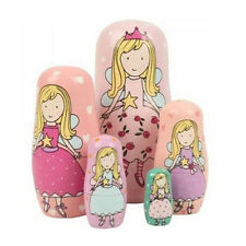 5-Nesting Cute Wooden Nesting Dolls Matryoshka Russian Doll Christmas Gift W7S5