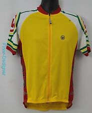 Canari Large yellow cycling jersey top holds 3 bottles ATHLETIC zip MENS L NEW