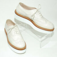 TODS Women's sz 40 Leather Platform Wingtip Shoes Light Tan / Bone