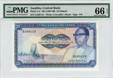 GAMBIA 1987-90 ISSUE 25 DALASIS BANKNOTE GRADED PMG GEM UNC-66-EPQ. PICK#11c.