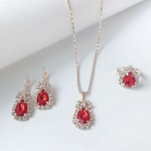 Red Gem Rhinestone Pendent Necklace Earrings Ring 44
