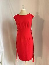 Women Party Dress Papell Cocktail Ruffle Back Belt Red Crepe Sheath 6 P Formal