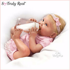 Ashton Drake Lifelike baby Doll Tippy Toes Feeding Bottle Nappy Headband