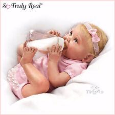 Ashton Drake baby Doll Tippy Toes - Lifelike - Feeding Bottle - Nappy - Headband