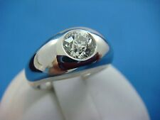 SOLID 14K WHITE GOLD GYPSY RING WITH 0.85 CT OLD EUROPEAN CUT DIAMOND,10.7 GRAMS