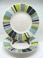 "Pottery Barn Striped Sausalito Embossed Rim Greens Blues 10"" Salad Plates (2)"